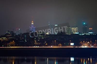 Fototapeta Polska, Centrum Warszawa nocą.