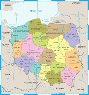 Fototapeta Polska mapa - szczegółowe ilustracji wektorowych