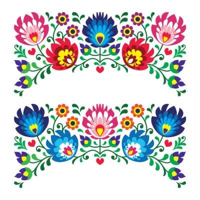 Fototapeta Polskie wzorce kwiatowy haft ludowy dla karty