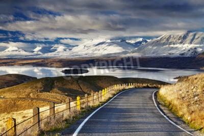 Fototapeta Południowe Alpy i Jezioro Tekapo, widok z Góry Jana, Mackenzie, Nowej Zelandii