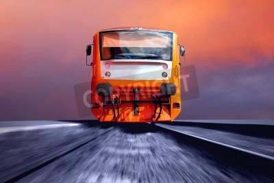 Fototapeta Pomarańczowy pociągu na prędkości