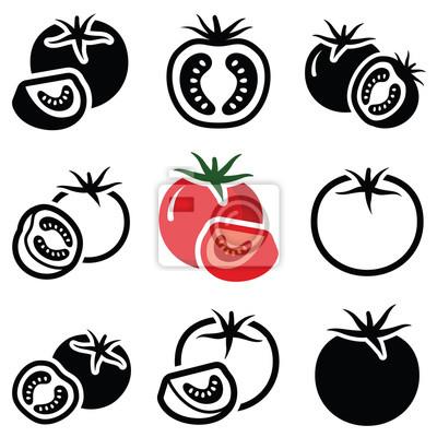 Fototapeta Pomidor ikonę zbierania warzyw - wektor zarys i sylwetka