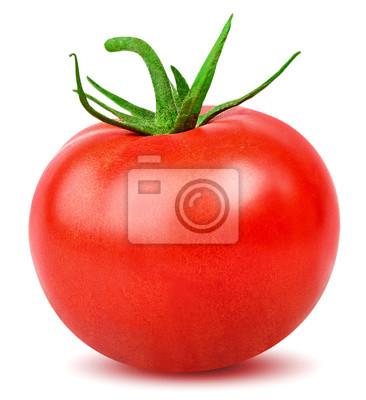 Fototapeta Pomidor Jeden cały pomidor odizolowywający na białym tle z ścinek ścieżką
