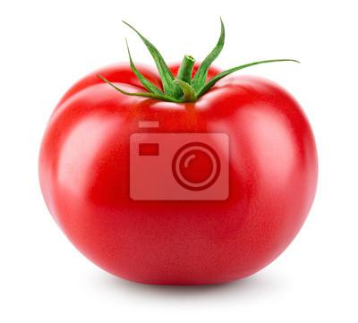 Fototapeta Pomidor na białym tle. Świeży pomidor. Ze ścieżką przycinającą. Pełna głębia ostrości.
