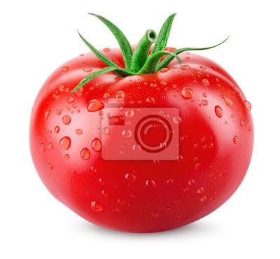 Fototapeta Pomidor. Pomidor z kroplami odizolowywać. Z ścieżką przycinającą.