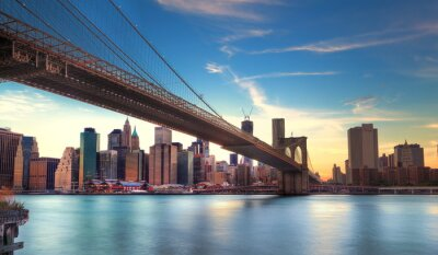 Fototapeta Pont de Brooklyn vers Manhattan, Nowy Jork.