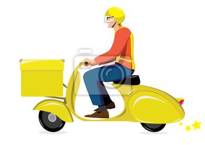 Pony Express na żółty skuter Vespa