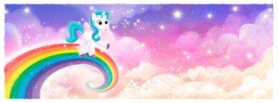 Fototapeta pony unicornio volando en arcoiris