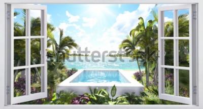 Fototapeta Pool facing the ocean, view from the window.