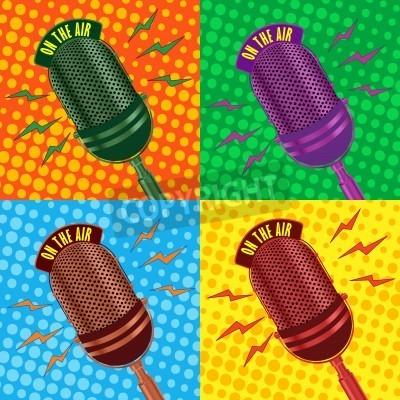 Fototapeta Pop-art, stare radio mikrofon w tle