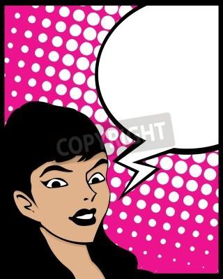 Fototapeta Pop Art styl graficzny z kobieta i bąblu