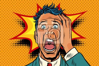 Fototapeta pop-art twarz paniki śmieszne