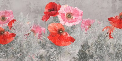 Fototapeta Poppies flowers illustration. Poppies painted on the grunge wall. Beautiful design for postcard, picture, mural, wallpaper, photo wallpaper.