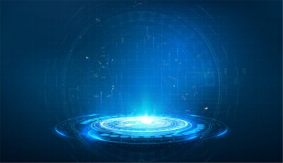 Fototapeta Portal and hologram futuristic circle on blue isolate background. Abstract high tech futuristic technology design. round shape. Circle Sci-fi elements with light and lights. Vector illustration