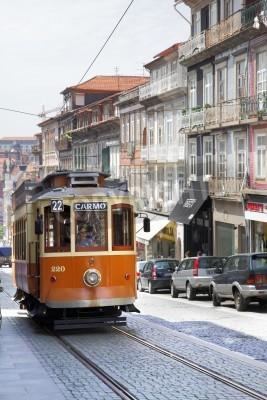 Fototapeta PORTO - MAY 12: Rare old tram in old district May 12, 2012 in Porto