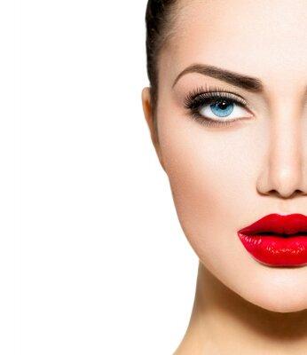 Fototapeta Portret Beauty. Profesjonalny makijaż na brunetka o niebieskich oczach