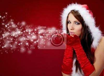 Fototapeta Portret pięknej dziewczyny Boże Narodzenie