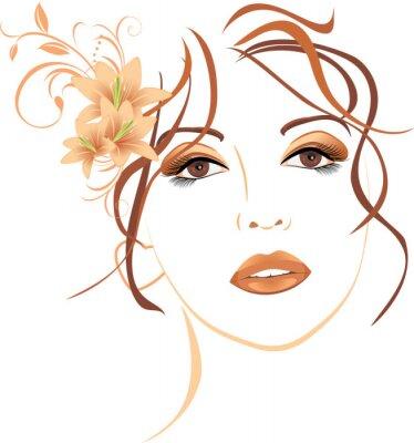 Fototapeta Portret pięknej kobiety z lilie w włosów