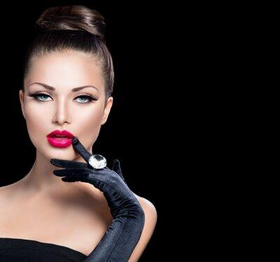 Fototapeta Portret piękno mody glamour girl w kolorze czarnym