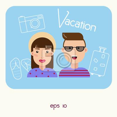 Portret szczęśliwej pary. Styl płaski. Ludzie projektują.