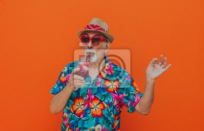 Fototapeta Portrety dziadka na kolorowym tle