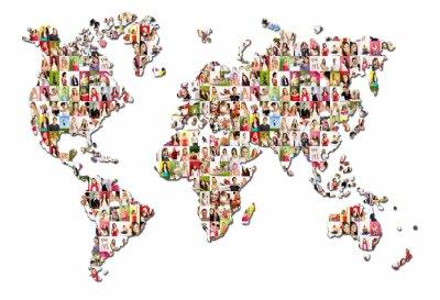 Fototapeta Portrety wielu ludzi - Mapa świata