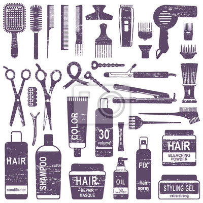 Porysowany sylwetka zestaw ikon do układania włosów