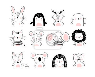 Fototapeta Poster with cute animal portraits for a card, baby shower, sticker for a children s bedroom. Doodle illustration Rabbit, penguin, deer, cat, elephant, lion, koala, bear, hedgehog, wolf, fox. vector