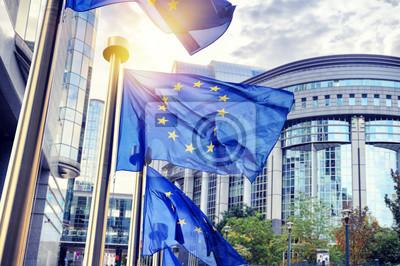 Fototapeta powiewają flagi UE przed budynkiem Parlamentu Europejskiego w Brus