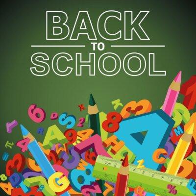 Fototapeta Powrót do szkoły w tle z liter, cyfr i kolorowym Penc