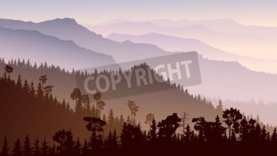 Fototapeta Poziome ilustracji ranek mglisty las iglasty wzgórza w fioletowym tonem.