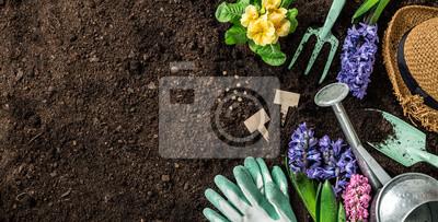 Fototapeta Prace Spring Garden. Narzędzia ogrodnicze i kwiaty na glebie.