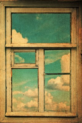 Fototapeta prawdziwe retro okno z widokiem na chmury i niebo