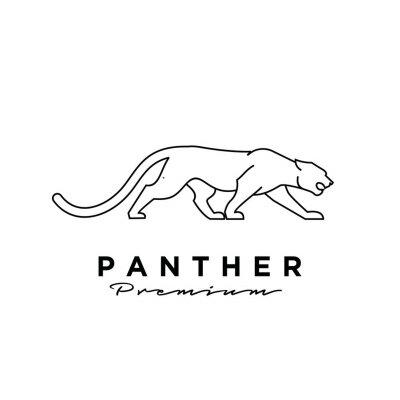 Fototapeta premium black panther vector line logo illustration design