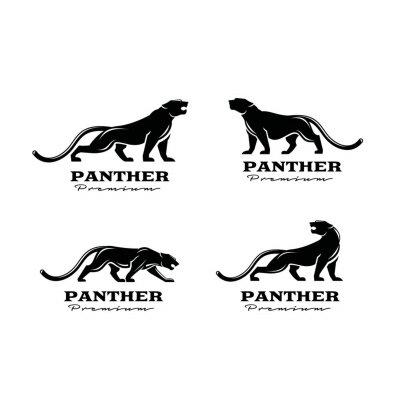 Fototapeta premium set collection black panther vector logo illustration design