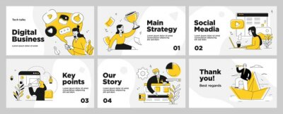Fototapeta Presentation and slide layout background. Yellow design template with business people. Use for business annual report, flyer, marketing, leaflet, advertising, brochure, modern style. Vector