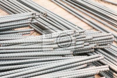 Pręty stalowe lub batonach wykorzystane do wzmocnienia betonu.
