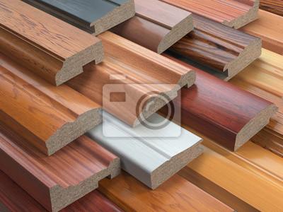 Fototapeta Próbki profili drewnianych mebli MDF, płyt pilśniowych średniej gęstości Różnych.