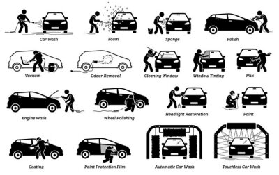 Fototapeta Professional auto car detailer icons set. Vector illustrations of auto car detailing services of car wash, polishing, cleaning, waxing, repainting, ceramic coating, and paint protection film.
