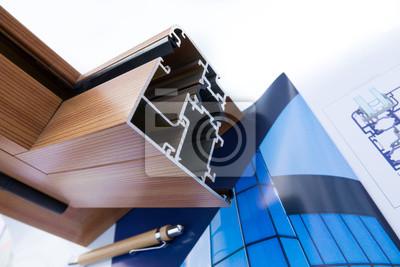 Fototapeta Profil aluminiowy z rysunkiem architektonicznym i projektem technicznym, próbkami kolorystycznymi