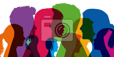 Fototapeta Profil - jeune - étudiant - portrait - silhouette - face - tête - adolescent - fille - garçon - groupe