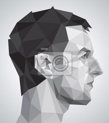 Profil młody człowiek w stylu origami