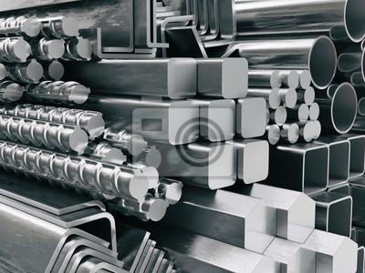 Fototapeta Profile metalowe i rury. Różne wyroby ze stali nierdzewnej.