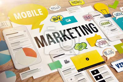 Fototapeta Projekt koncepcji marketingu mobilnego. Pojęcie baneru internetowego i mobilnego, social media marketing, reklama internetowa, tworzenie sieci, m-commerce, szablon prezentacji, materiały marketingowe,