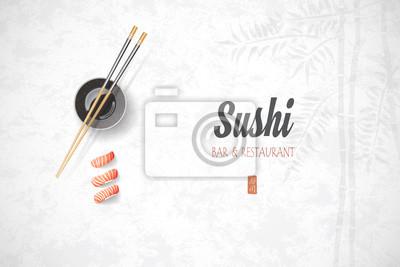 Fototapeta Projekt koncepcyjny zaproszenia restauracji sushi. Vector illust