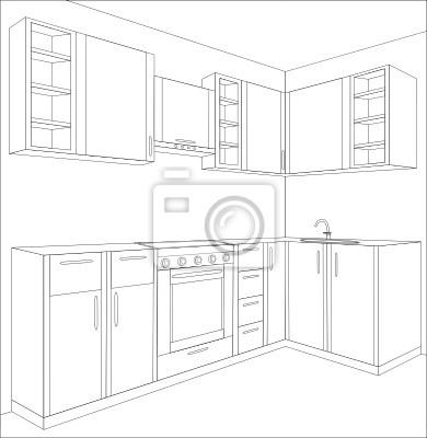 Projekt kuchni, wnętrze, meble.