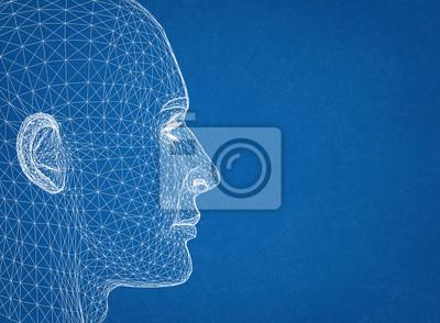 Fototapeta Projekt ludzkiej głowy - Architect Blueprint