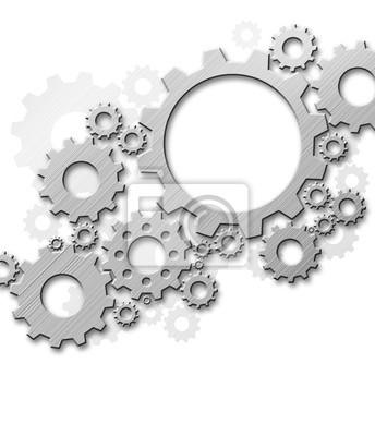 Projekt przekładnie metalowe na białym tle