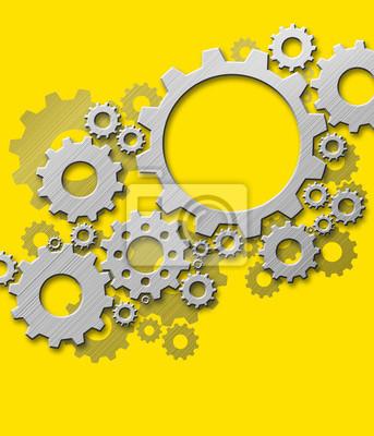 Projekt przekładnie metalowe na żółtym tle