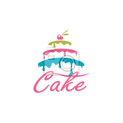 Fototapeta projekt słodkie ciasto z jagodą na białym tle